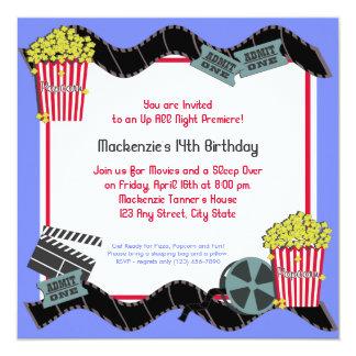 """Popcorn and a Movie 5.25"""" Square Invitation Card"""
