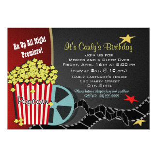 Popcorn and a Movie Sleep over Personalized Invite