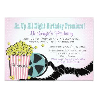 Popcorn and a Movie Sleepover 13 Cm X 18 Cm Invitation Card