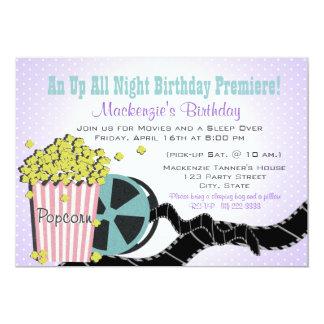Popcorn and a Movie Sleepover Purple 13 Cm X 18 Cm Invitation Card