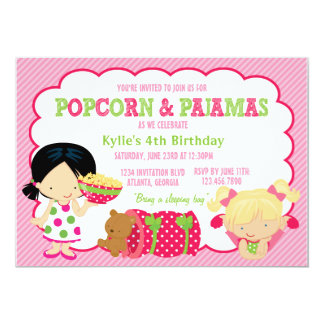 Popcorn and Pajamas Sleepover Party 13 Cm X 18 Cm Invitation Card