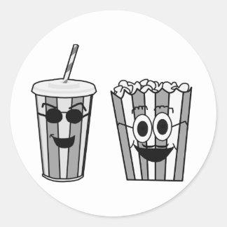 popcorn and soda classic round sticker