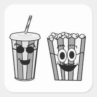 popcorn and soda square sticker