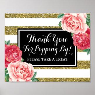 Popcorn Bar Sign Black Gold Pink Flowers