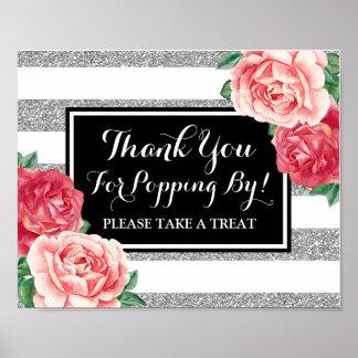 Popcorn Bar Sign Black Silver Pink Flowers