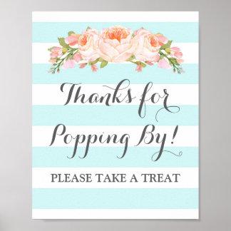 Popcorn Bar Sign Blue Flowers Stripes Poster