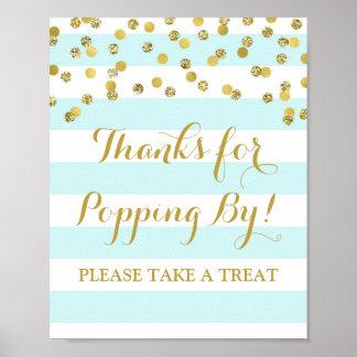 Popcorn Bar Sign Blue Stripes Gold Confetti