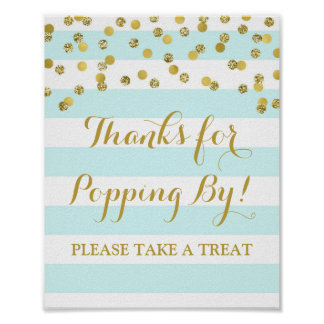 Popcorn Bar Sign Blue Stripes Gold Confetti Poster