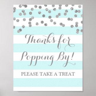 Popcorn Bar Sign Blue Stripes Silver Confetti Poster