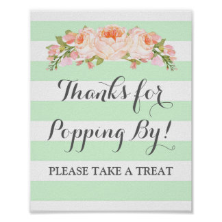 Popcorn Bar Sign Mint Flowers Stripes