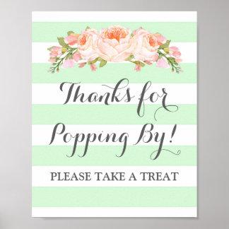 Popcorn Bar Sign Mint Flowers Stripes Poster