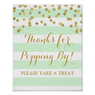 Popcorn Bar Sign Mint Stripes Gold Confetti Poster