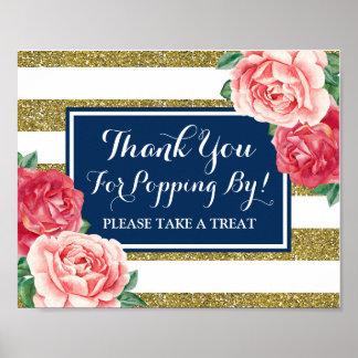 Popcorn Bar Sign Navy Blue Gold Pink Flowers