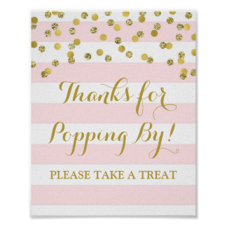 Popcorn Bar Sign Pink Stripes Gold Confetti Poster