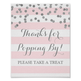 Popcorn Bar Sign Pink Stripes Silver Confetti Poster