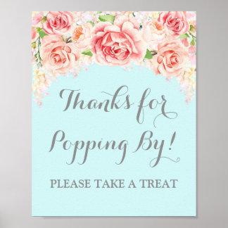 Popcorn Bar Sign Pink Watercolor Floral Blue