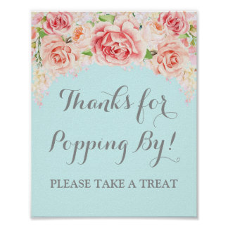Popcorn Bar Sign Pink Watercolor Floral Blue Poster