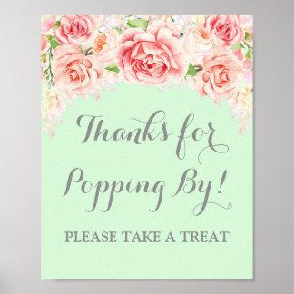Popcorn Bar Sign Pink Watercolor Floral Mint