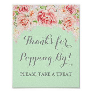 Popcorn Bar Sign Pink Watercolor Floral Mint Poster