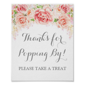 Popcorn Bar Sign Pink Watercolor Floral Poster