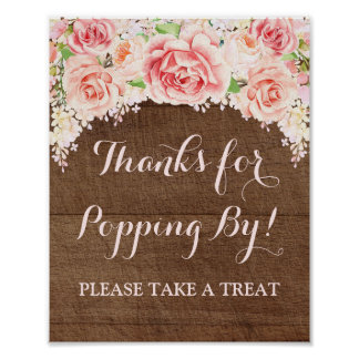Popcorn Bar Sign Pink Watercolor Floral Wood Poster