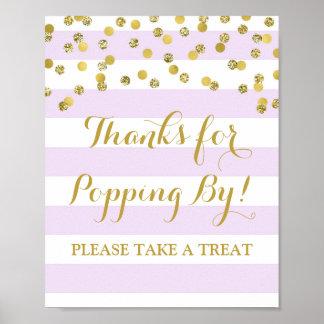 Popcorn Bar Sign Purple Stripes Gold Confetti Poster