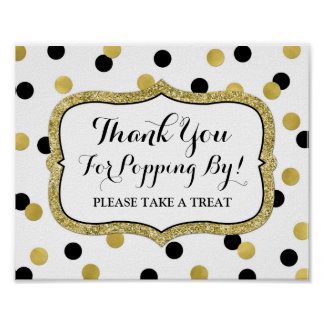 Popcorn Bar Sign White Black Gold Confetti