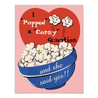 Popcorn Corny Question, Cute Retro Save the Date 11 Cm X 14 Cm Invitation Card