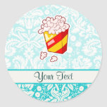 Popcorn; Cute Round Sticker