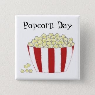 Popcorn Day 15 Cm Square Badge
