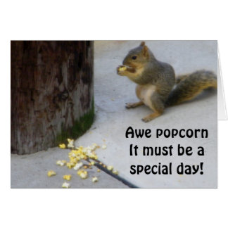 POPCORN EATING SQUIRREL BIRTHDAY GREETINGS CARD