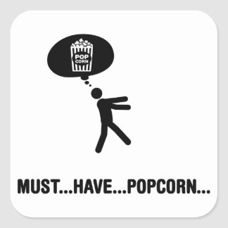 Popcorn Lover Square Sticker