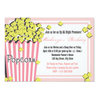 Popcorn Movie Sleepover Card
