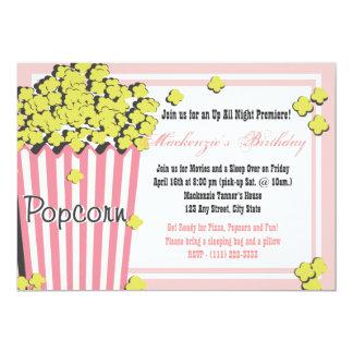 "Popcorn Movie Sleepover 5"" X 7"" Invitation Card"