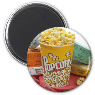 Popcorn & movie tickets magnet