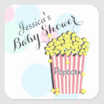 Popcorn Pink Baby Shower Square Stickers