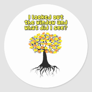 Popcorn Popping On The Apricot Tree Round Sticker