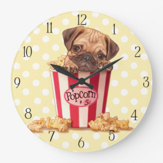 Popcorn pug puppy large clock