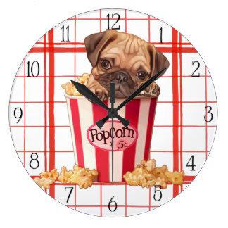 Popcorn pug puppy large clock