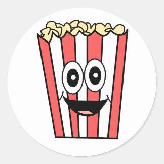popcorn smiling classic round sticker