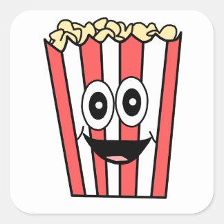 popcorn smiling square sticker