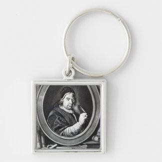 Pope Benedict XIV Silver-Colored Square Key Ring