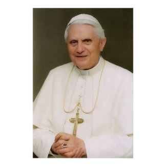Pope Benedict XVI with Hands Folded Poster