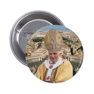 Pope Benedict XVI with the Vatican City 6 Cm Round Badge