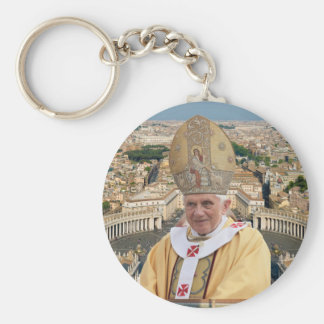 Pope Benedict XVI with the Vatican City Basic Round Button Key Ring