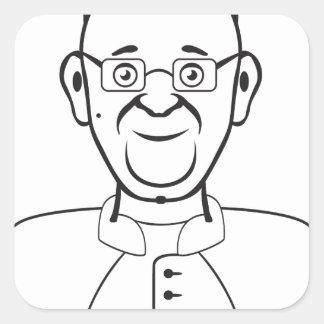 Pope cartoon square sticker