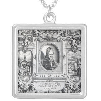 Pope Clement VIII, surrounded Silver Plated Necklace