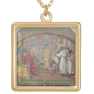 Pope Eugene IV Consecrating the convent of San Mar Square Pendant Necklace