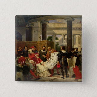 Pope Julius II ordering Bramante 15 Cm Square Badge