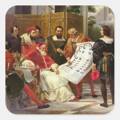 Pope Julius II ordering Bramante Square Stickers